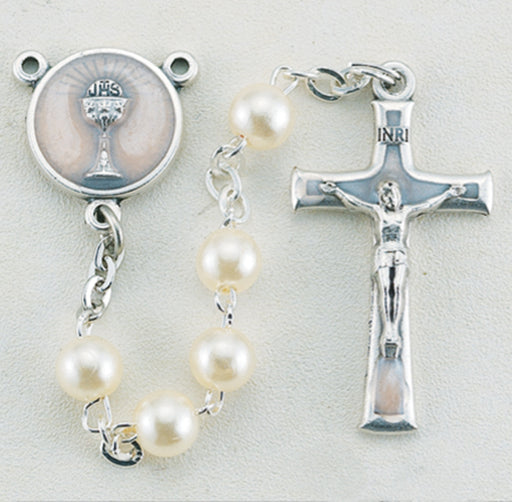White Round Bead First Communion Rosary