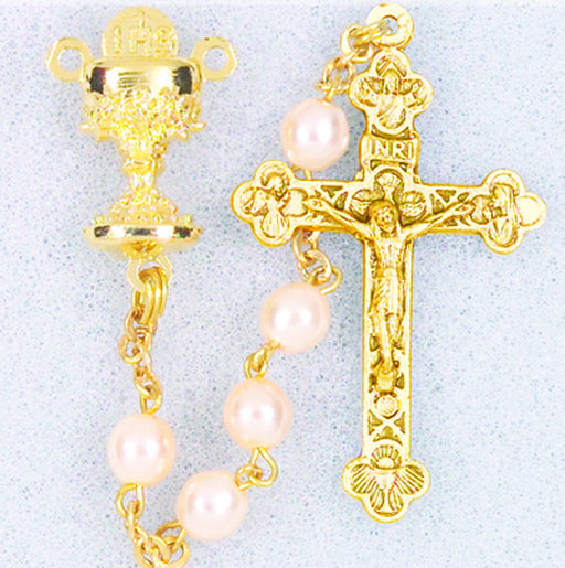 First Communion Gold Pearl Bead Rosary