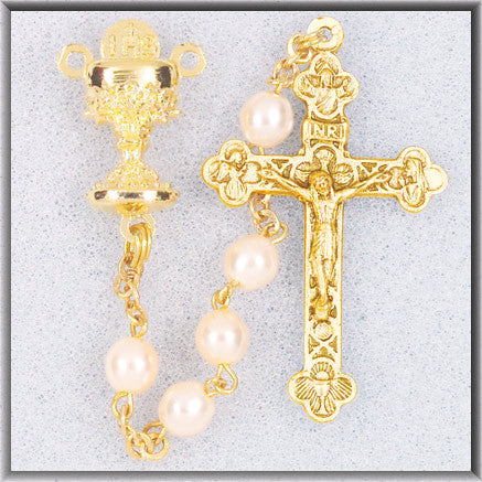 Image of WHITEPEARL BEAD GOLD ROSARY