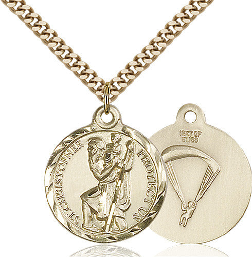 Image of St. Christopher / Paratrooper Pendant (Gold Filled)