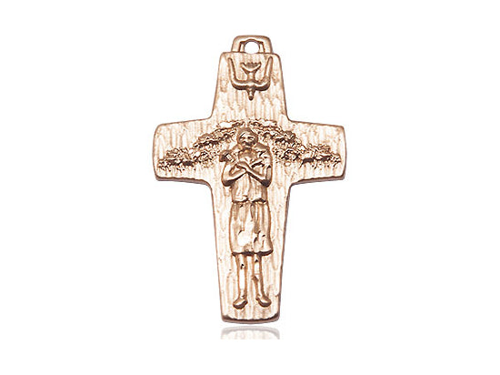 Papal Crucifix 14Kt Gold Medal