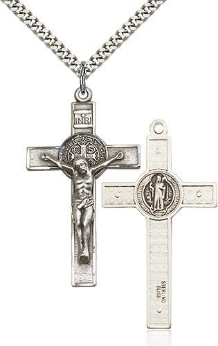All crucifix pendantsno refunds on 14k gold items free ship 49 st benedict crucifix pendant sterling silver aloadofball Images