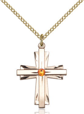 Topaz Bead Cross (14 Karat Gold Filled)