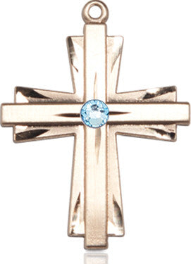 aqua_bead_cross_pendant_14kt_gold