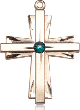 emerald_bead_cross_pendant_14k_gold