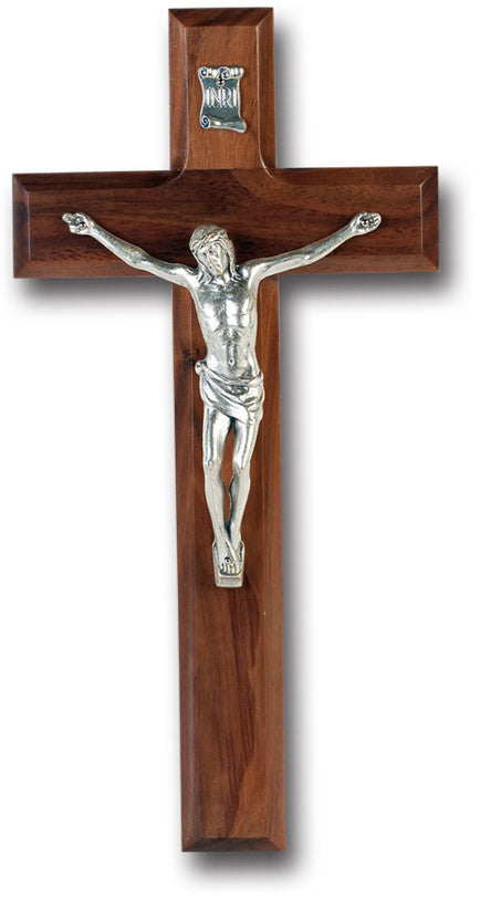"10"" Walnut Wall Cross & Crucifix"