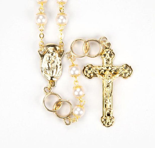 White Pearl Glass Wedding Rosary