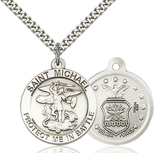 St. Michael the Archangel Air Force Pendant - Sterling Silver