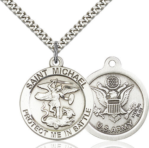St. Michael the Archangel Army Pendant - Sterling Silver