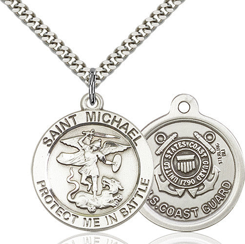St. Michael the Archangel Coast Guard Pendant - Sterling Silver
