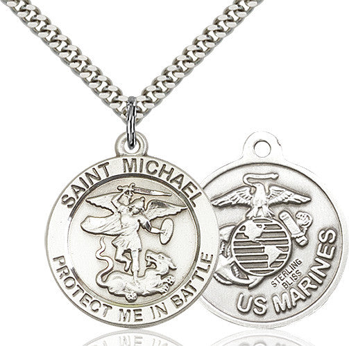 St. Michael the Archangel Marines Pendant - Sterling Silver
