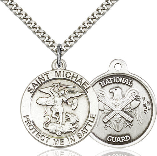 St. Michael the Archangel National Guard Pendant - Sterling Silver