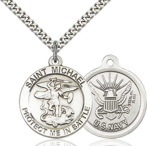 St. Michael the Archangel Navy Pendant - Sterling Silver