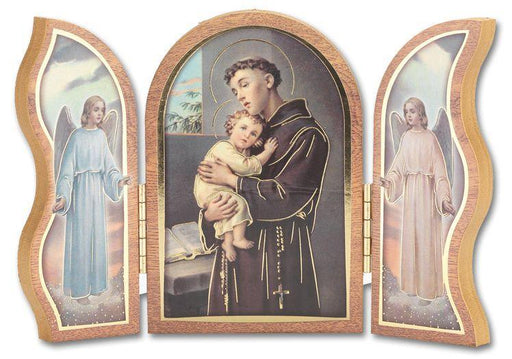 St Anthony Gold  Embossed Triptych