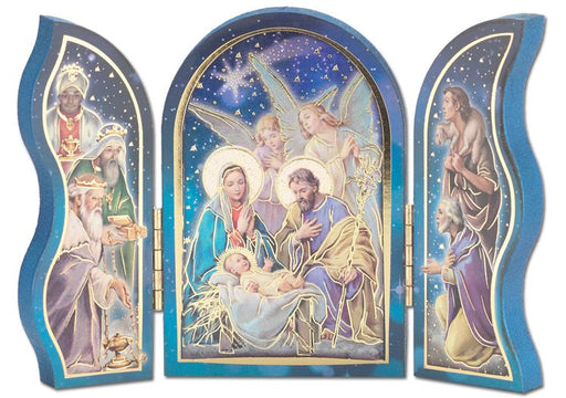 Standing Nativity Scene with Two Angels Triptych