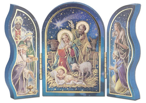 Standing Nativity Scene With Lamb Triptych