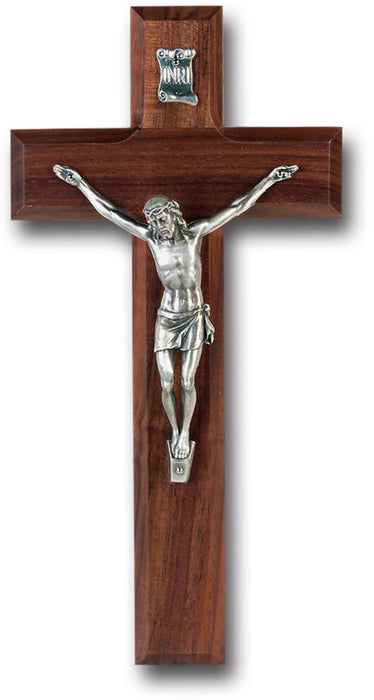 "10"" Walnut Wood Wall Cross & Crucifix"