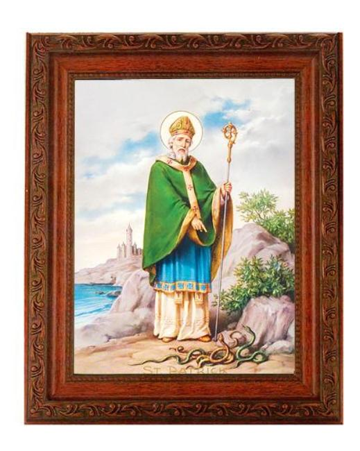 St. Patrick Scroll Carving Antiqued Mahogany Frame