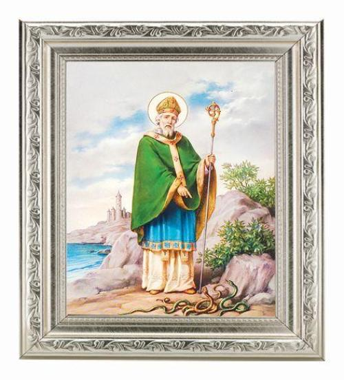 ST PATRICK ANTIQUE SILVER FRAME IN A FINE DETAILED SCROLL CARVINGS
