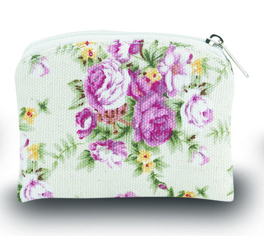 Image of WHT W/ROSE BROCADE ROSARY CASE