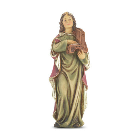 St. Cecilia of Siena Hand Painted Solid Resin Statue
