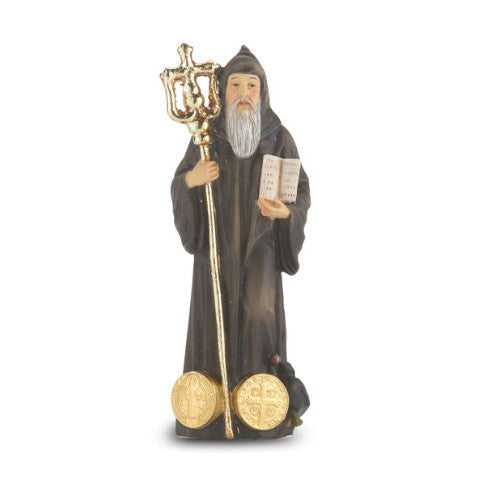 St. Benedict Hand Painted Solid Resin Statue