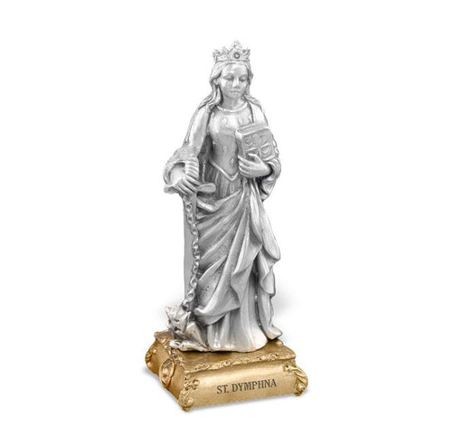 "4 1/2"" St. Dymphna Pewter Statue on Base"
