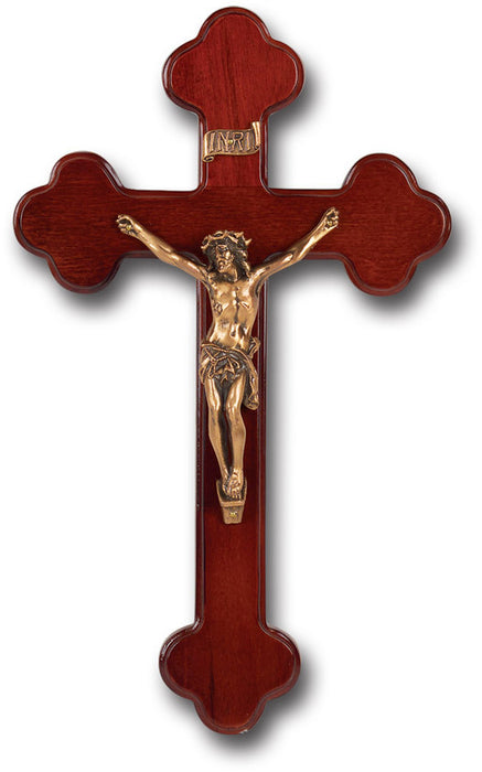 "10"" Dark Cherry Wood Budded Cross"