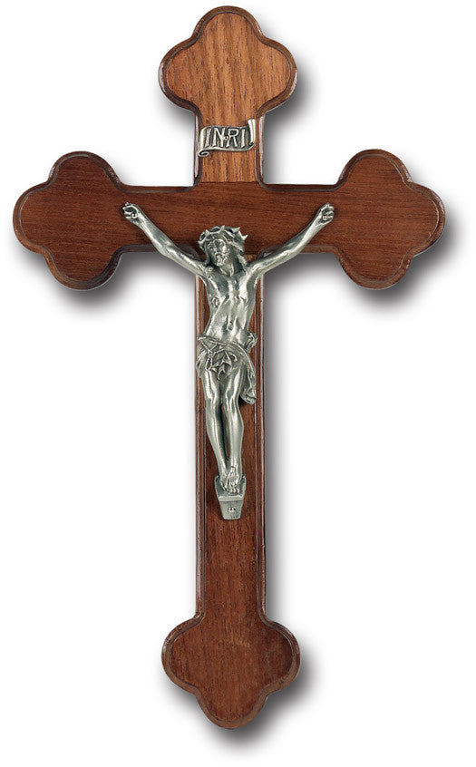 "10"" Walnut Wood Latin Style Wall Cross"