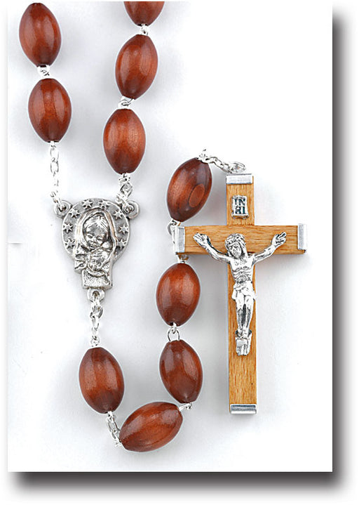 Brown Wood Family Rosary - Extra Large Beads
