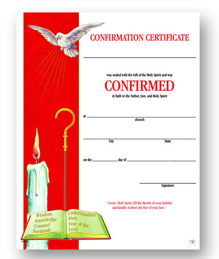 Image of CERT OF CONFIRMATION  8x10