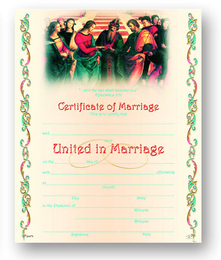 Image of CERTIFICATE OF MARRIAGE 8x10