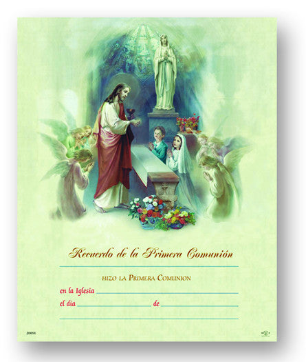 Image of SPANISH 1ST COMMUNION CERT 8x10