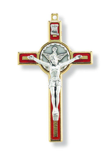 "Gold and Red Holy Spirit 3"" Confirmation Crucifix"