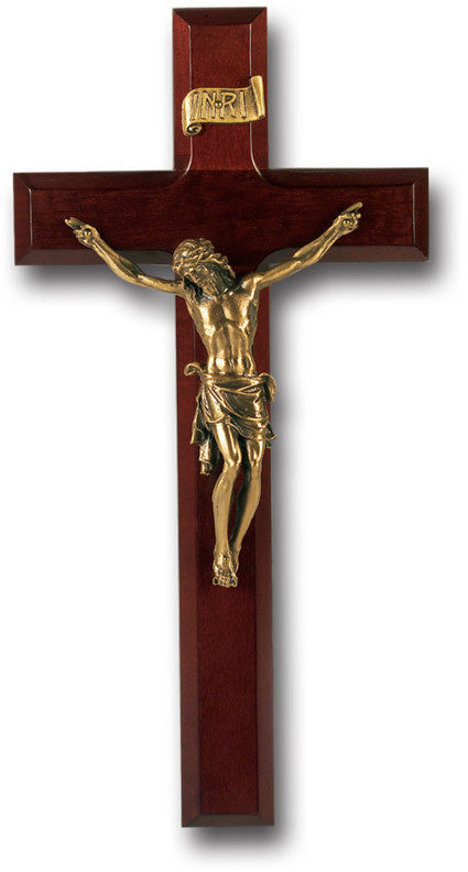 "11"" Dark Cherry Wall Cross & Crucifix"