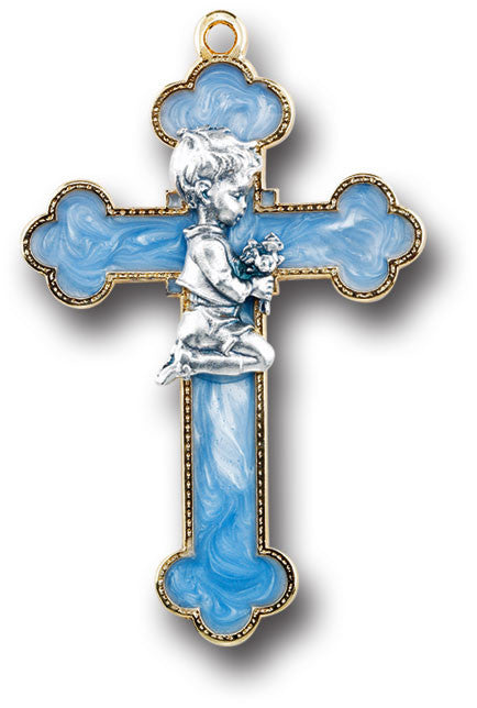 Image of BLUE ENAMELED CROSS W/ PRAYING
