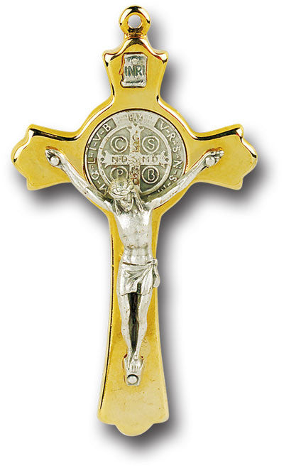 "Image of 3"" GOLD ST BENEDICT CROSS"