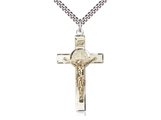Two-Tone GF/SS St. Benedict Crucifix Pendant