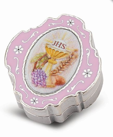 "2"" Pink Enameled Silver Keepsake Box"