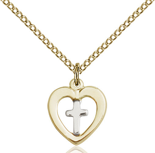 Image of Two-Tone SS/GF Heart / Cross Pendant
