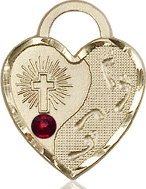 Garnet Bead Footprints Heart Pendant (14Kt Gold)