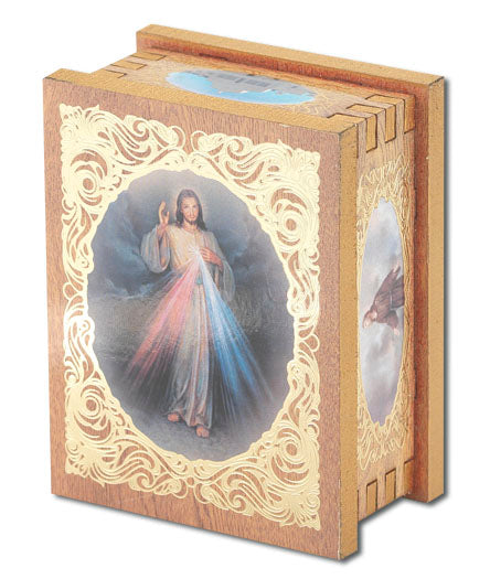 Divine Mercy Natural Wood Square Rosary Box