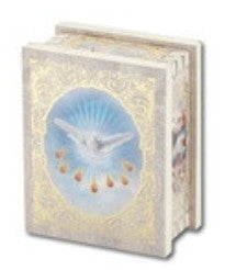 Confirmation Natural Wood Square White Rosary Box