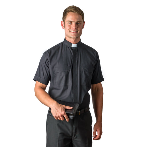 Clergy Shirt / Short Sleeve Black Tab - Cotton Rich