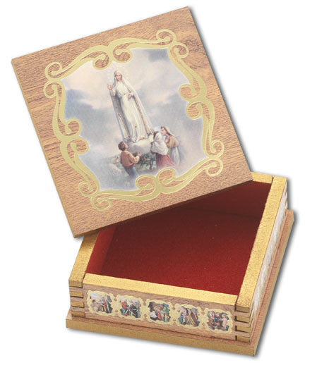 Our Lady of Fatima Natural Wood Square Rosary Box