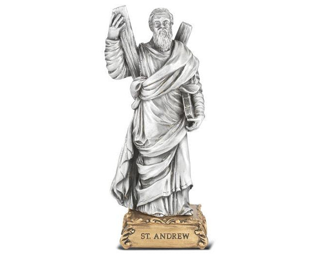 "4 1/2"" St. Andrew Pewter Statue on Base"
