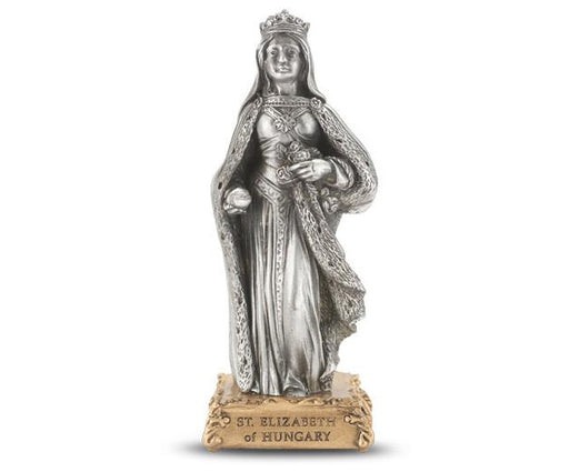 "4 1/2"" St. Elizabeth of Hungary Pewter Statue on Base"