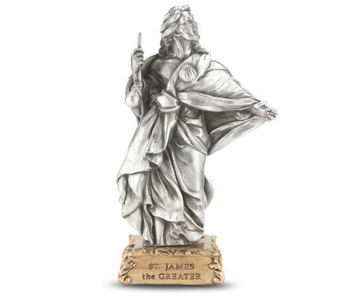 "4 1/2"" St. James the Greater Pewter Statue on Base"