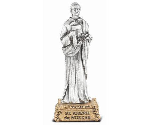"4 1/2"" St. Joseph the Worker Pewter Statue on Base"