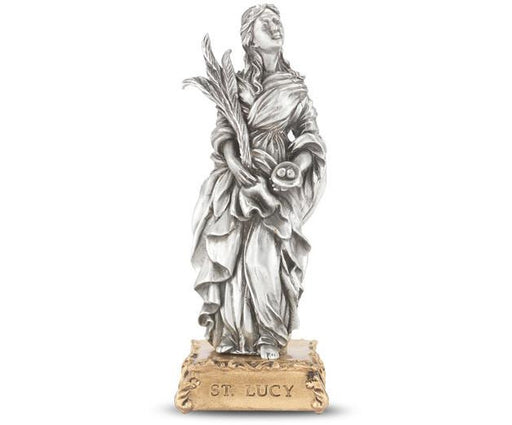 "4 1/2"" St. Lucy Pewter Statue on Base"